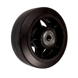 Чугунное колесо без кронштейна с литой черной резиной D 250 - фото 1