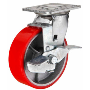 Поворотное чугунное колесо с полиуретаном и тормозом SCpb 200 - фото 1