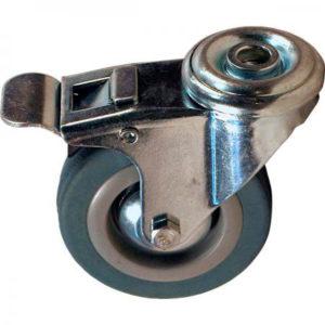 Поворотное полипропиленовое колесо с серой резиной и тормозом