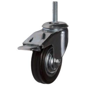 Поворотное стальное колесо с черной резиной и тормозом