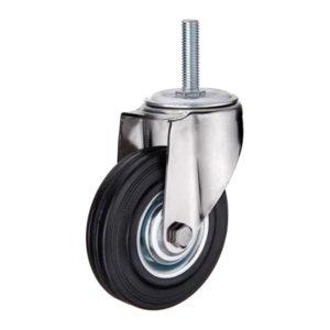 Поворотное стальное колесо с черной резиной SCt 85 - фото 1