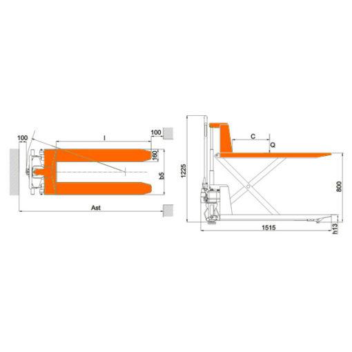 Гидравлическая тележка с ножничным подъемом KRONA CL 10-XP - фото 2